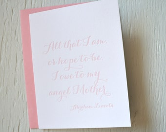 Letterpress card for mom - light pink - thank you, congratulations, wedding, milestone, mother's day