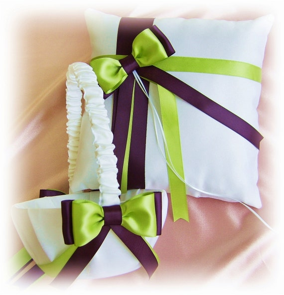 Wedding ring pillow flower girl basket, lime green and eggplant weddings ceremony decor