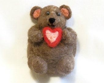 Needle Felted Teddy Bear - Large Refrigerator Magnet - Felt Animals