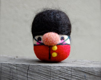 Needle Felted British Royal Guard Egg Doll Made to Order