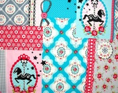 Patchwork fabric, kids fabric, cotton fabric, turquoise fabric, childrens fabric, Carousel Horse Patchwork in Turquoise