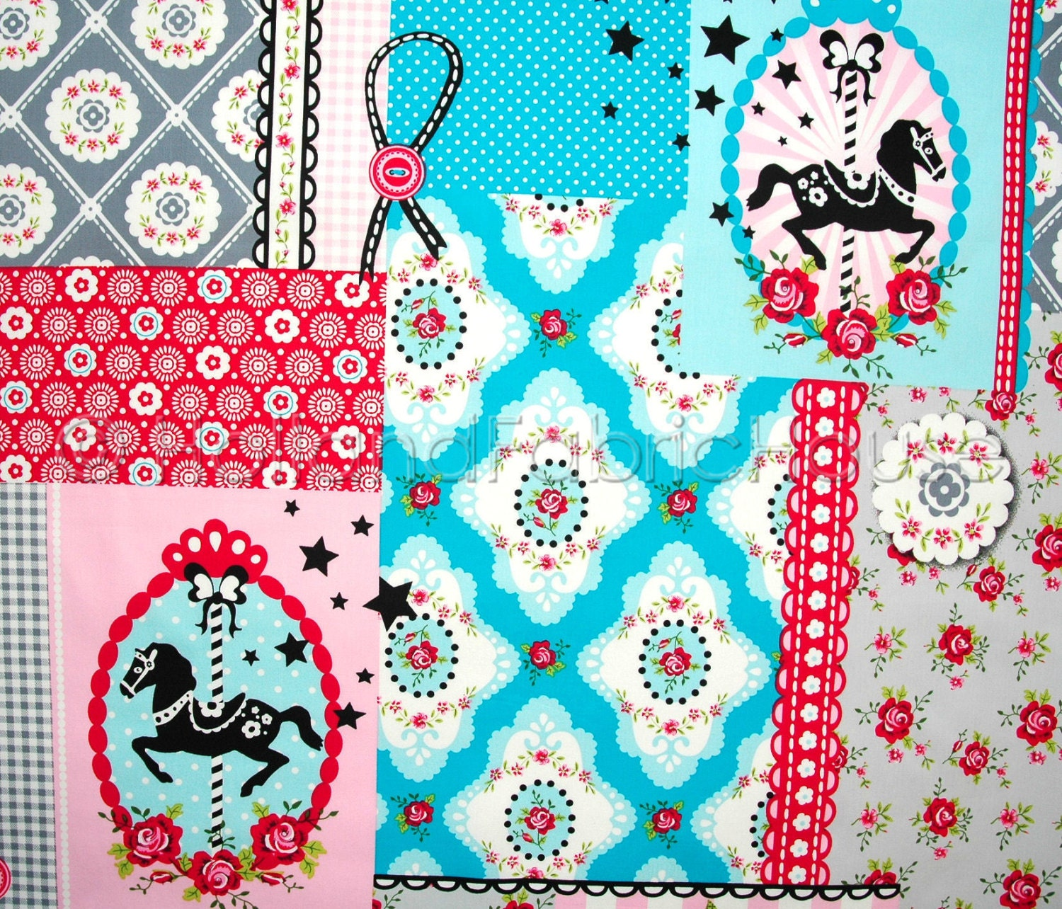 Patchwork fabric kids fabric cotton fabric turquoise for Horse fabric for kids