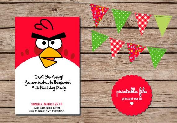 Angry Birds Invitación Personalizada. Imprimible por printandlove