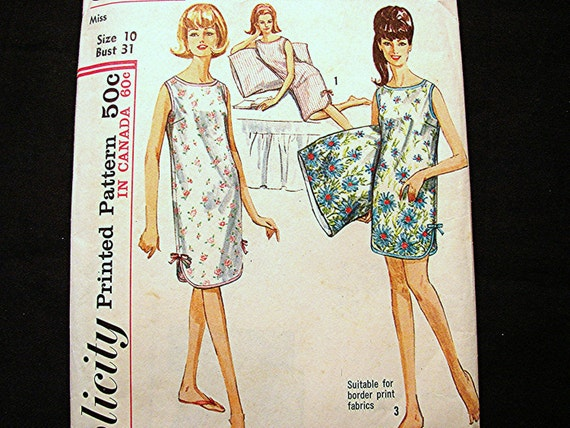 1960s Pattern Nightgown 2 lengths includes Pillow Case Pattern Misses Size 10