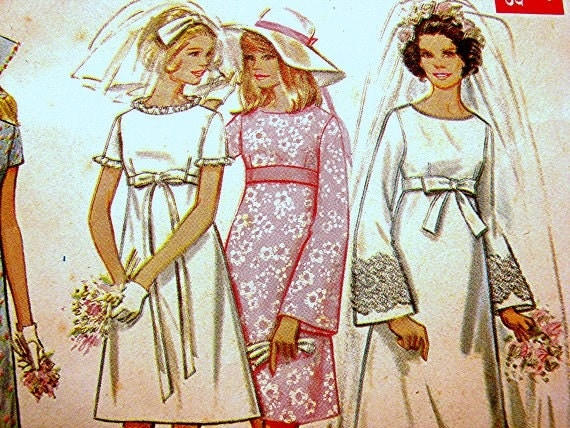 Wedding Dress Patterns Empire Line : S empire waist wedding dress pattern misses size uncut a line
