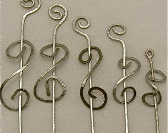 Steel Shawl Pins - Double Spiral STEEL Pins. Wholesale Wrap Pins.Set of 5.
