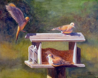 Mourning Doves watercolor painting print by Cathy Hillegas, 8x10, birds, doves, bird feeder, brown, gold, gray, purple, green, wild birds