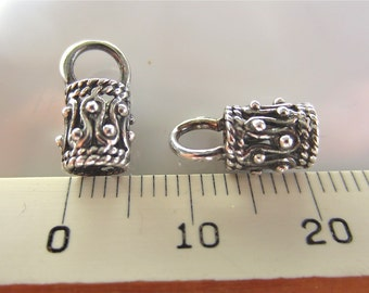 Rope and Dot Pair Bali Sterling Silver End Caps for Cord, 4mm inside diameter