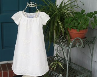 Handmade Flower girl Baptism Delicate lined Off White Girls Dress   Sizes 7..8..10