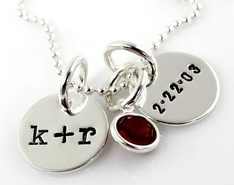 Initial Necklace - You plus Me with Date hand stamped and personalized sterling silver necklace with crystal - two discs