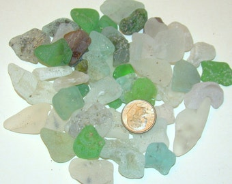 Bulk Small BONFIRE Mostly blue Surf-tumbled SEA GLASS / Lot of 12 / P50
