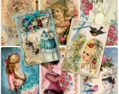 Marie Antoinette Hang Tags, Clipart, Digital Collage Sheet, Tag Set ACEO Size, ATC, French Beauties, Gift Tags, Paris Fashion