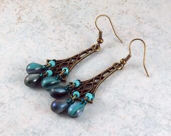 Bronze Metal Filigree Aqua Teal Beaded Dangle Chandelier Earrings
