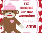 I'm BANANAS for you MONKEY Valentine  Favor Tags - DIY - Digital FIle - Valentine's Day Tag