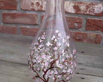 Hand Painted Oriental Cherry Blossom Carafe