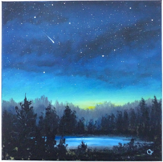 Starry Night Sky With Moon Painting