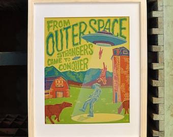 The Strangers : Letterpress Linocut UFO Pulp Fiction