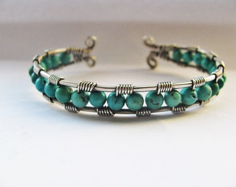 Silver and Genuine Chinese Turquoise Wire Wrapped Cuff Bracelet