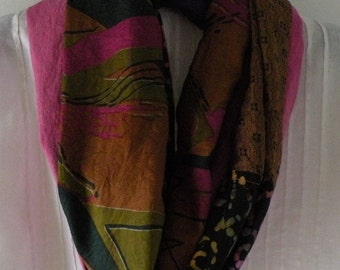 Infinity scarf, women's multicolor woven fashion circle loop, pink brown black, Bohemian boho abstract retro hipster Expedition Lhasa i914