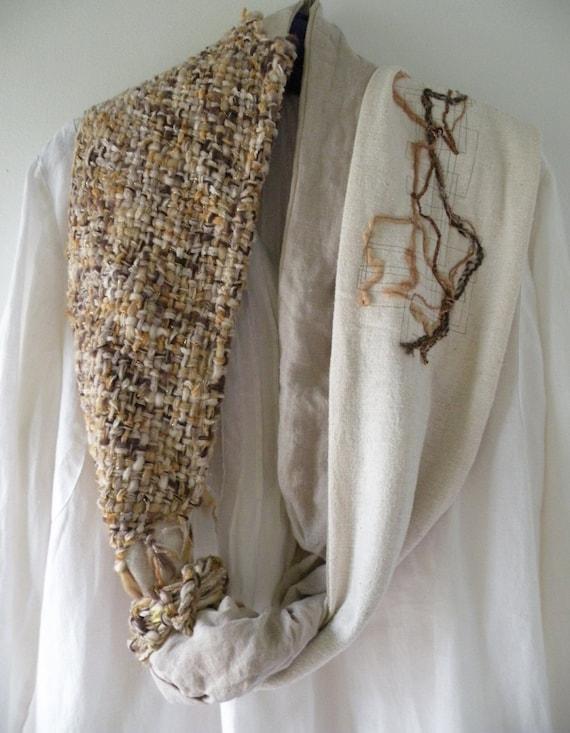 Knitting Wearable Art : Wearable art scarf women s knit crochet handwoven woven