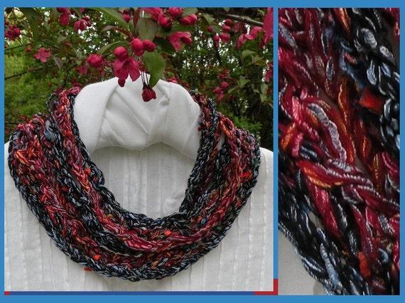 Crochet scarf: women's multicolor long knit fashion skinny scarflette, red blue black cotton bohemian i863