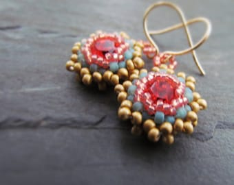 PEONY-Pink Swarovski Crystal and Aqua Peach & Butter Yellow Seed Bead Chandelier Earrings