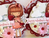 Sweet valentine's Day Tags - Hand Colored -  Cupid -