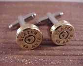 Bullet Cuff Links 45 Auto Brass Shell Recycled Repurposed