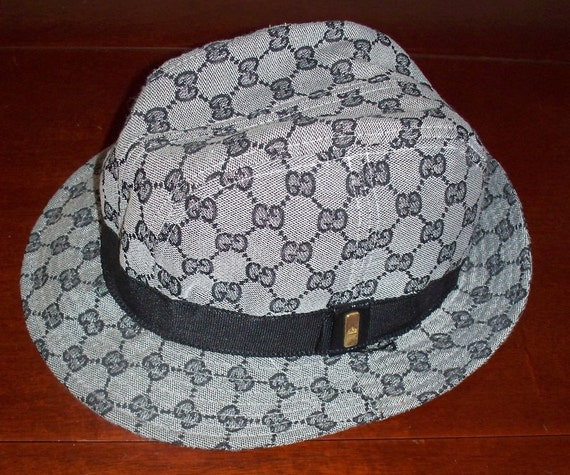 vintage gucci bucket hat gray and black fedora free. Black Bedroom Furniture Sets. Home Design Ideas