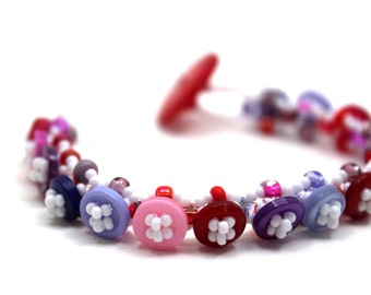 Beaded Bracelet - Button Embellished - Girly Purple Pink Red by randomcreative on Etsy