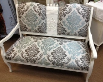 Aqua and Brown Damask Settee NOW ON SALE