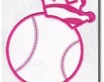 Applique Softball Crown Embroidery Design