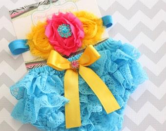 baby bloomers { Sunshine Sky } turqouise lace ruffle Diaper Cover Set, shabby flower Headband, 1st birthday, Cake smash photography prop