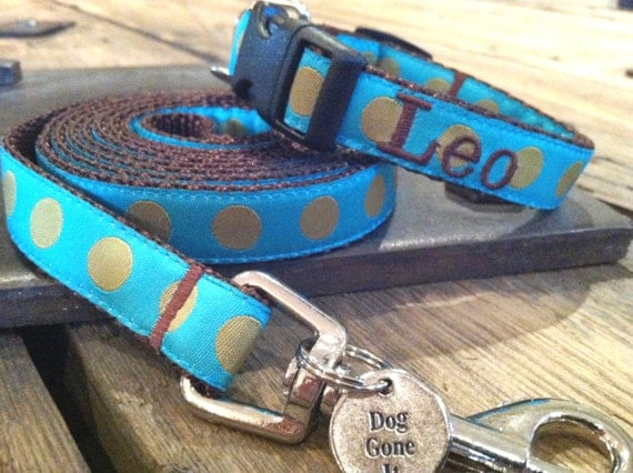 "5/8"" Width Personalized Dog Collar and Personalized Dog Lead Set (XS or Sm). Personalized Dog leash. Dog Gone It. Embroidered Dog Collar."