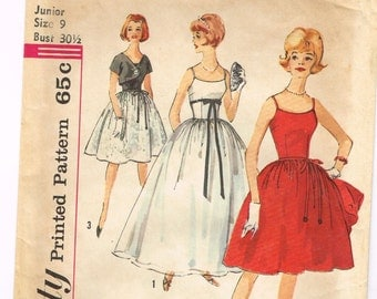 Original 1960's Formal Dress Pattern with Shoulder Straps and Jacket Size 9 Simplicity 4474
