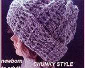 Relaxed fit cozy Hat, CROCHET PATTERN, Slouchy Hat,  #408, BEGINNER Chunky Style Rolled Bottom hat, baby  to adult,  Instant download