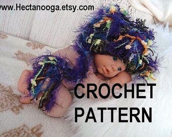 Crochet Pattern elf hat num 382, UNISEX Raz-A-Ma-Taz Elf Hat,PHOTO PROP,, sizes newborn to age 3. Permission to sell your finished hats.