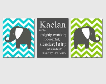 Nursery Wall Art Custom Baby Name Meaning Chevron Elephant Trio - Set of Three 8x10 Prints - CHOOSE YOUR COLORS