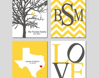 Family Love - Set of Four 8x10 Customizable Prints - Love, Family Established Tree, Love State Map, Chevron Monogram - GREAT WEDDING GIFT