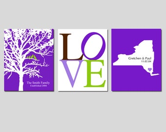 CUSTOM WEDDING GIFT - Modern Newlywed Trio Set of Three 8x10 Customizable Prints - Love, Family Established Bird Tree, State Silhouette Map