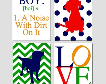 Baby Boy Puppy Nursery Art - Boy A Noise With Dirt On It Quote, Love, Chevron Puppy Dogs - Set of Four 11x14 Prints - CHOOSE YOUR COLORS