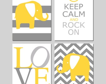 Yellow Gray Nursery Art Quad - Set of Four 8x10 Prints - Chevron Elephant, Keep Calm Rock On, LOVE, Striped Elephant - Choose Your Colors