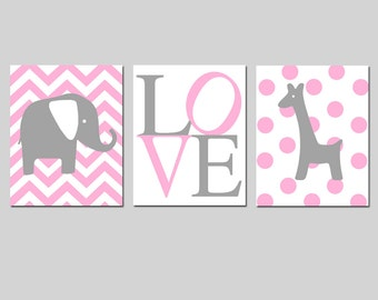 Elephant Giraffe Love Trio - Set of Three 8x10 Nursery Prints - Chevron Elephant, Love Typography, Polka Dot Giraffe - CHOOSE YOUR COLORS