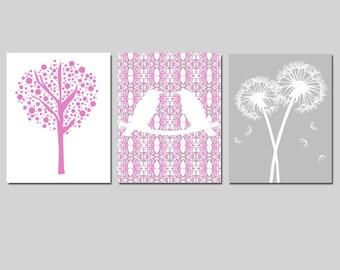 Nursery Art Trio - Love Birds, Tree Dot, Dandelions - Set of Three 11x14 Prints - CHOOSE YOUR COLORS - Shown in Dahlia Purple Pink and Gray