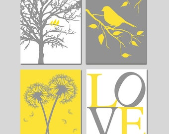Yellow Grey Gray Nursery Art - Birds in a Tree, Dandelions, Bird on a Branch, Love - Set of Four 11x14 Prints - CHOOSE YOUR COLORS