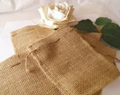 15 Rustic Burlap Drawstring Bags - 6 x 10  inch perfect for Wedding or Shower Favor Bags, Valentines Day Parties