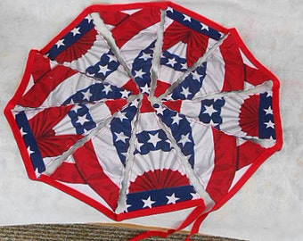 Splendid Red White Blue STARS & STRIPES FLAG Pennants, Handmade Sturdy Patriotic Decor Banner, Cloth Porch Bunting 1, Memorial Day July 4th
