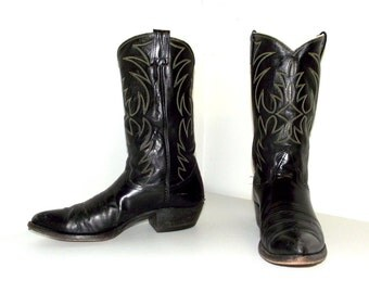 Vintage Rockabilly Western Black leather Nocona cowboy boots size 11 B