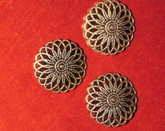 3 Acrylic Buttons, Gold Spirograph 7/8 inches wide Lightweight Lacy Metal Look