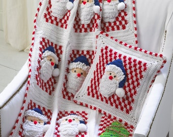 Santa Afghan Wall Hanging and Pillow Crochet Pattern PDF